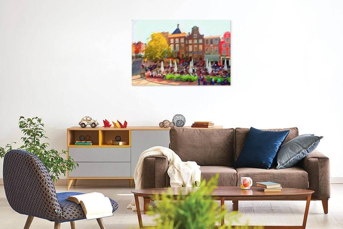 De Drie Gezusters van Groningen weergegeven in stijl van Kandinsky