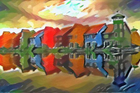 Abstract Schilderij Reitdiephaven Groningen in de stijl van Kandinsky