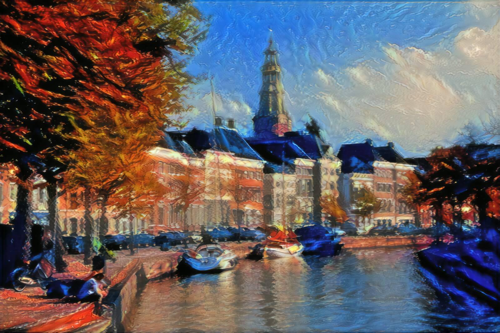 Sfeervol Schilderij Hoge Der Aa Groningen in de stijl van Soutine