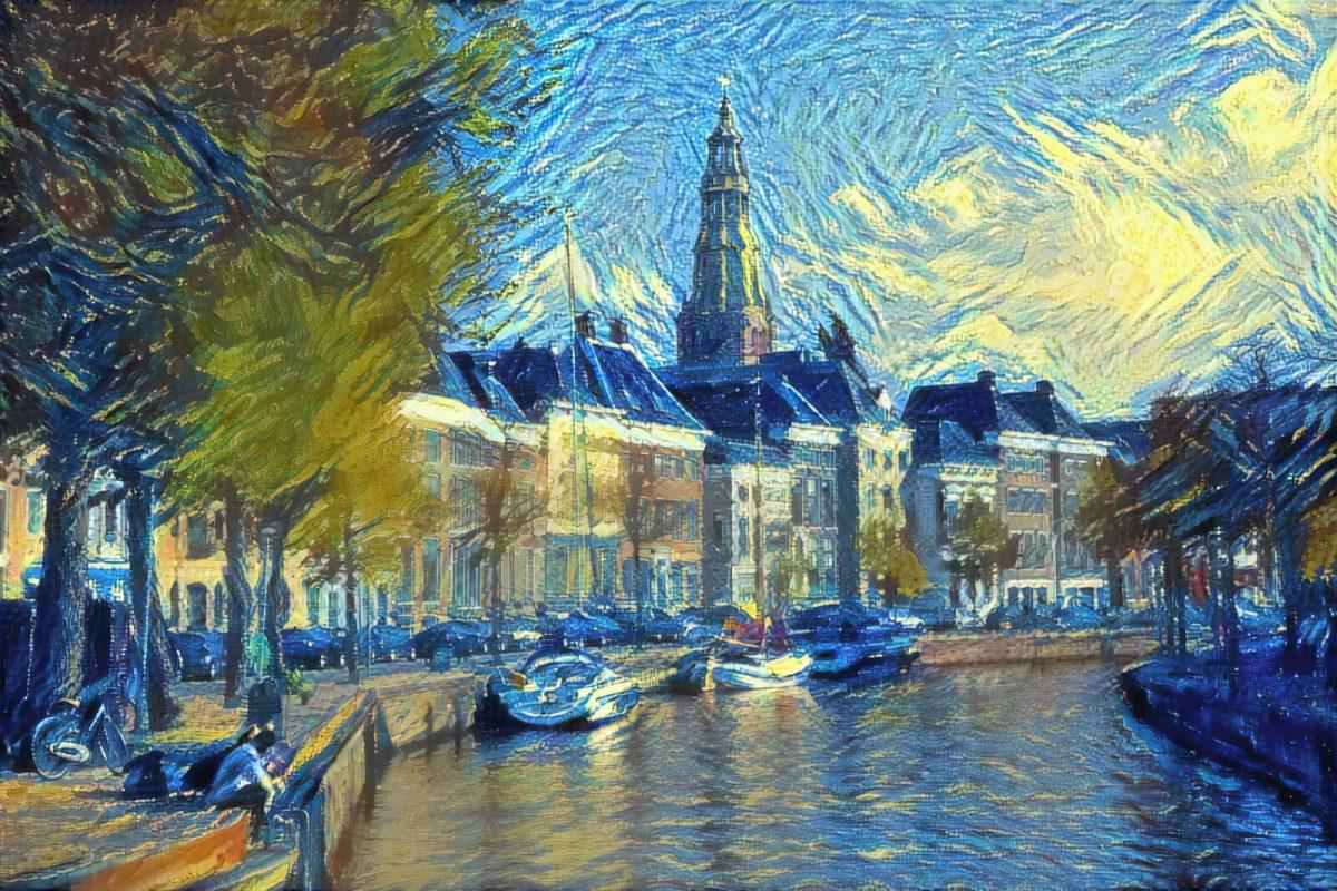 Schilderij Hoge Der Aa Groningen in de stijl van Van Gogh