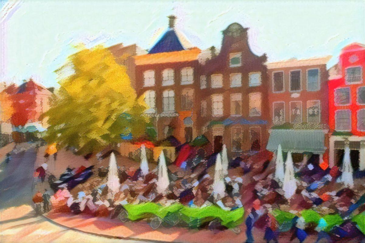 Schilderij Drie Gezusters van Groningen in de stijl van Kandinsky