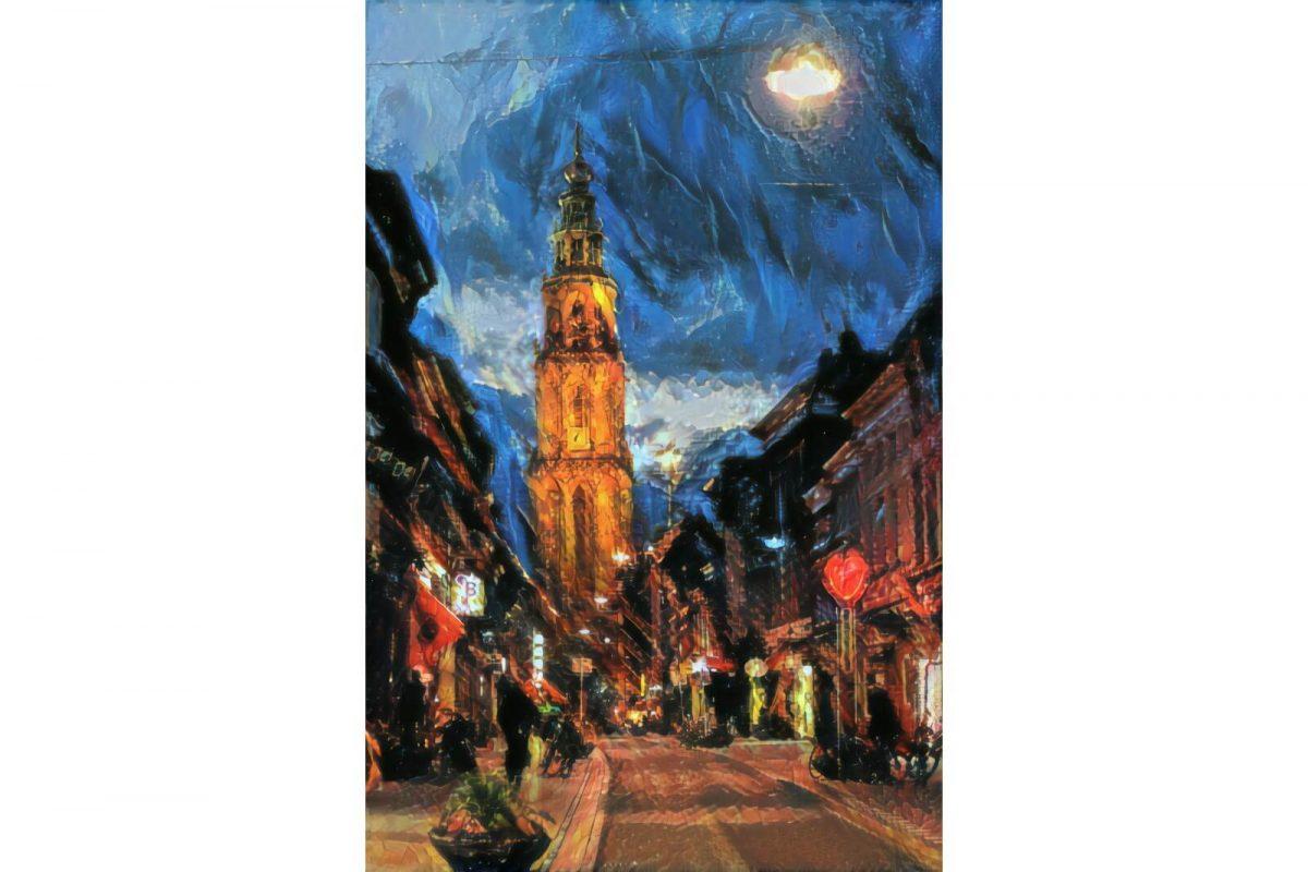 Martinitoren vanaf Oosterstraat in stijl van Soutine