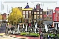 De Drie Gezusters van Groningen in de stijl van Piet Mondriaan