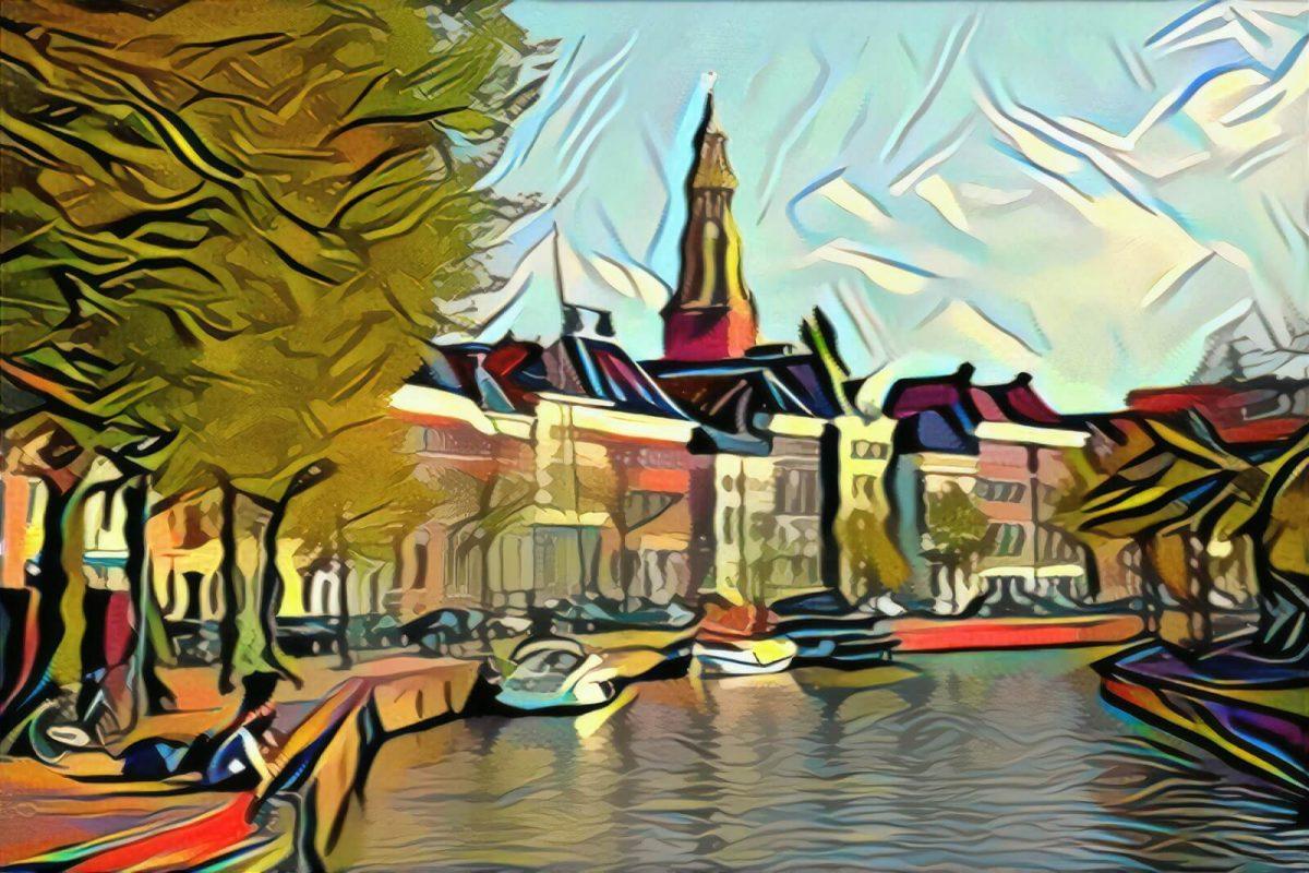 Schilderij Hoge der Aa Groningen in de stijl van Picasso
