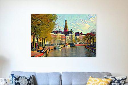 Schilderij Hoge Der A Groningen in stijl van Picasso