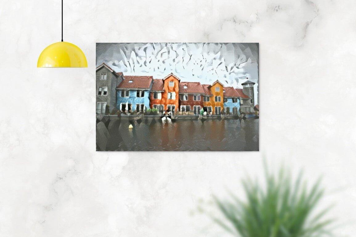 Reitdiephaven in stijl van Delaunay aan de muur