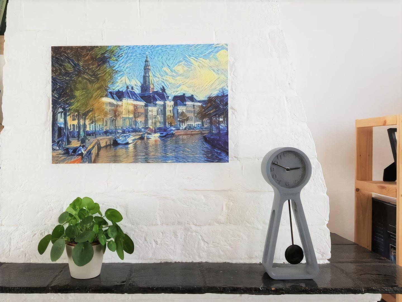 Interieur met slimme kunst. Hoge der Aa met kenmerken van de schilder Van Gogh.