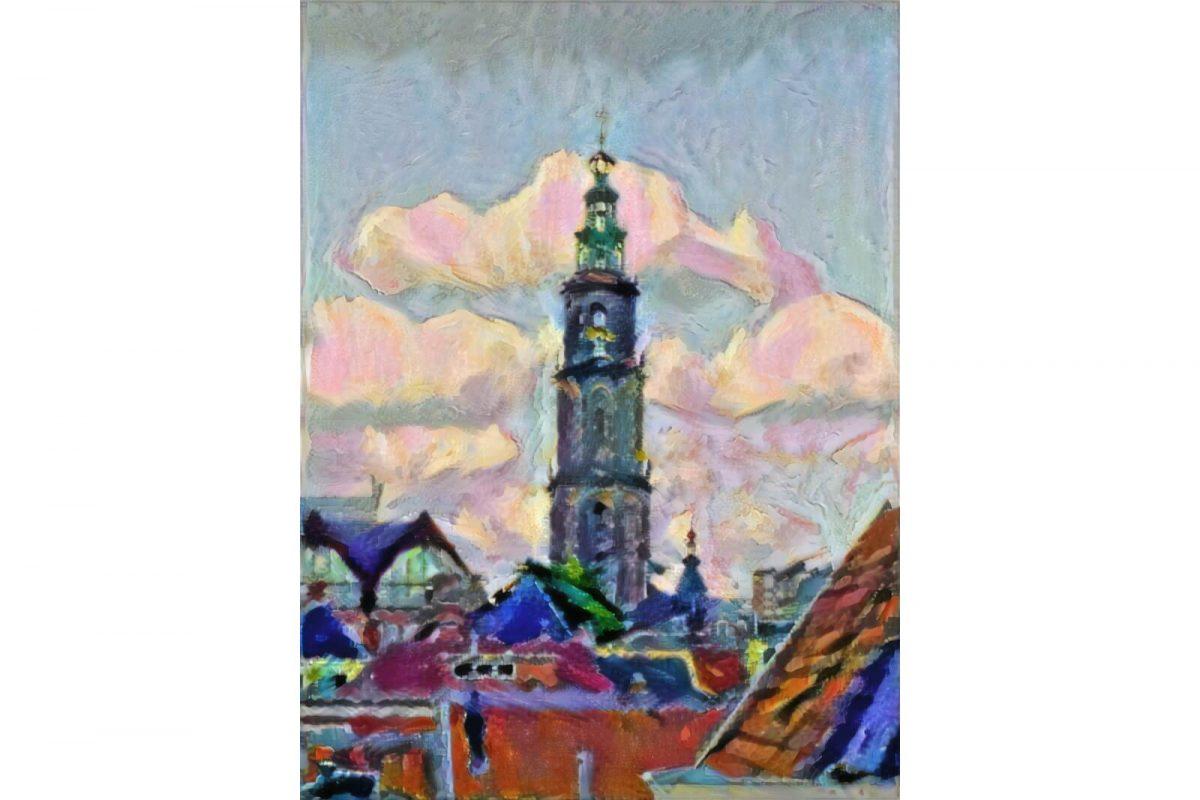 Martinitoren Groningen in de stijl van Matisse