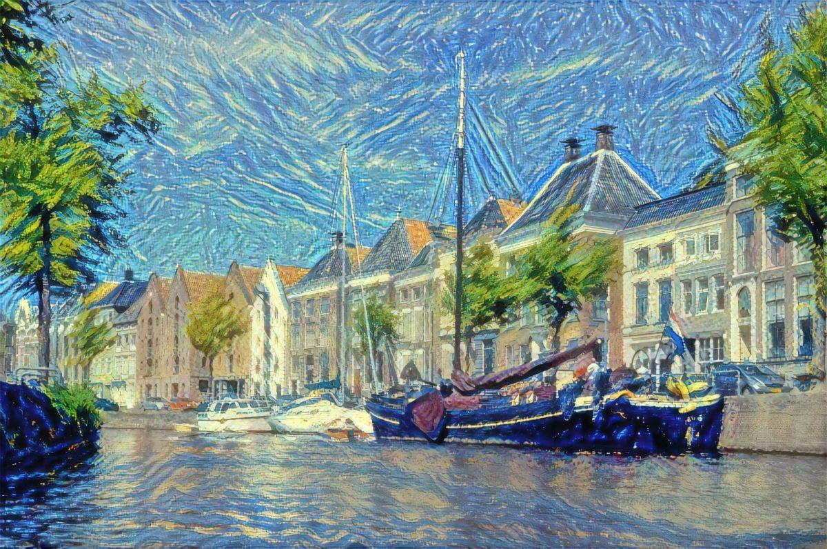 Hoge der Aa Groningen vanaf water in de stijl van Van Gogh