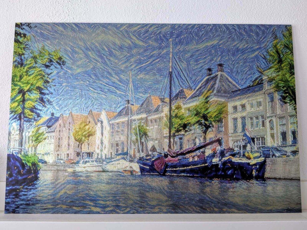 Hoge Der Aa vanaf het water in de stijl van Van Gogh