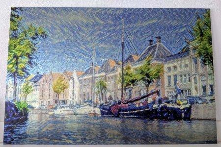 Close-up van Hoge der Aa in de stijl van Van Gogh's Sterrennacht, afgedrukt op hoogwaardig aluminium