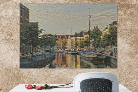 Klassiek schilderij Hoge Der A Groningen aan bruine muur