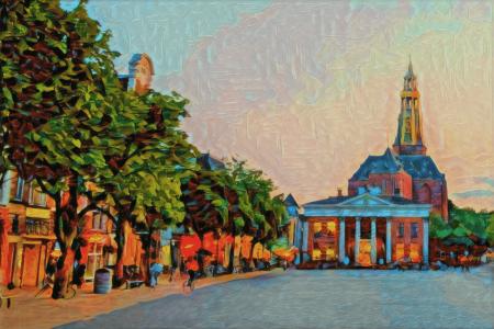 Een kleurrijke weergave van de Korenbeurs en Vismarkt in Groningen