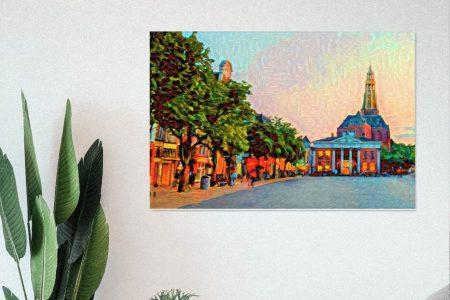 Een kleurrijke weergave van de Korenbeurs en Vismarkt in Groningen aan de muur