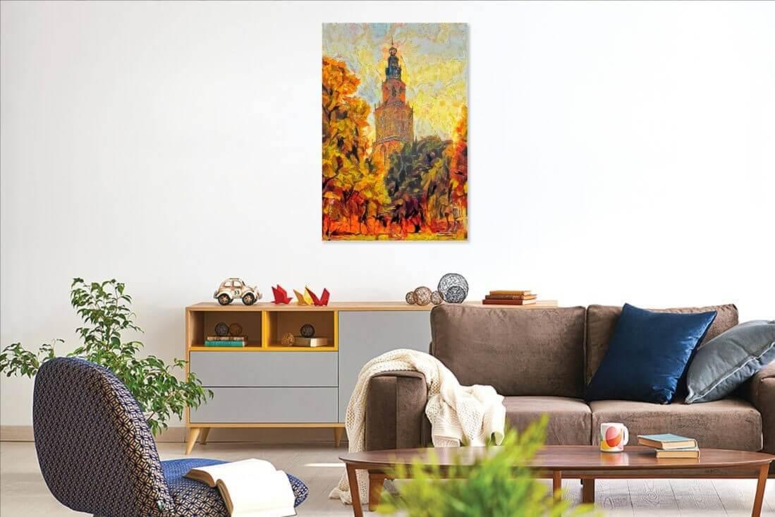Schilderij Martinitoren Groningen met herfst kleuren in uw woonkamer