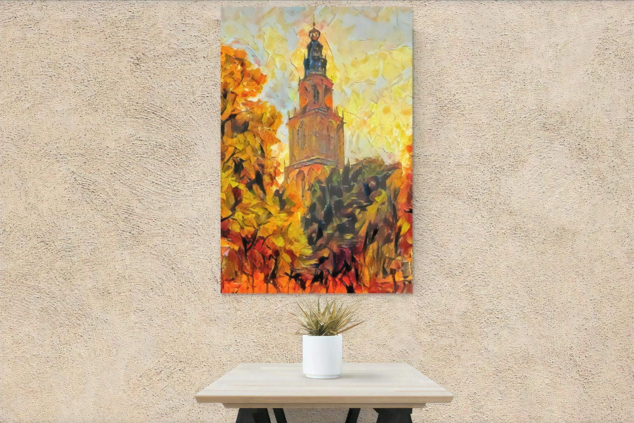 Schilderij Martinitoren herfst aan bruine muur op canvas