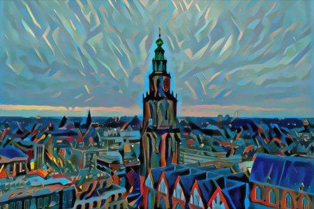 Ingezoomde versie schilderij Groningen skyline met Martinitoren