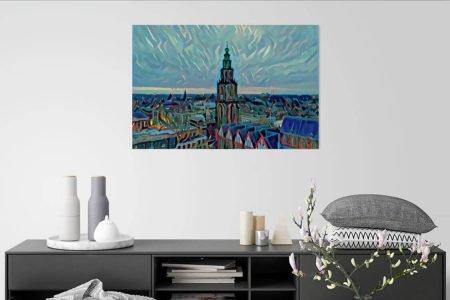 Schilderij Groningen skyline met Martinitoren