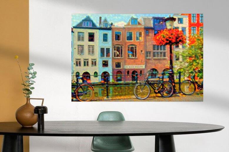 Sfeerimpressie Kleurrijk Schilderij Grachtenpanden Utrecht