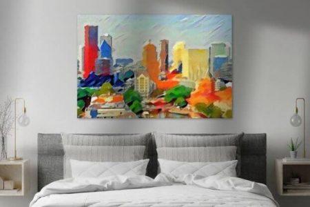 Sfeerimpressie Schilderij Abstracte Skyline Rotterdam