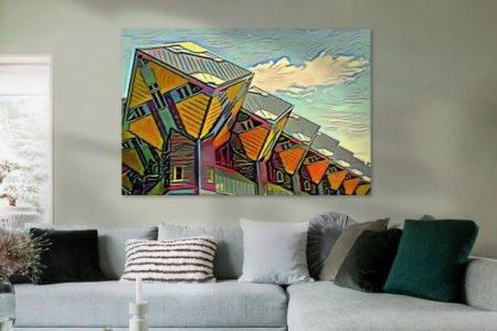 Sfeerimpressie Schilderij Kubuswoningen Rotterdam in de stijl van Picasso