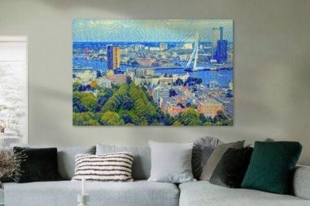 Sfeerimpressie Skyline Rotterdam in de stijl van Van Gogh