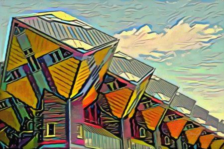 Kleurrijk Schilderij Rotterdam: Kubuswoningen Rotterdam in de stijl van Picasso