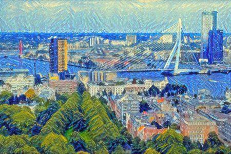 Skyline Rotterdam in de stijl van Van Gogh