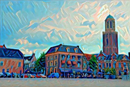 Modern kunstwerk van Rodetorenplein en de Peperbus in Zwolle.