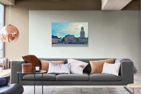 Mockup Schilderij Zwolle Futuristisch Rodetorenplein
