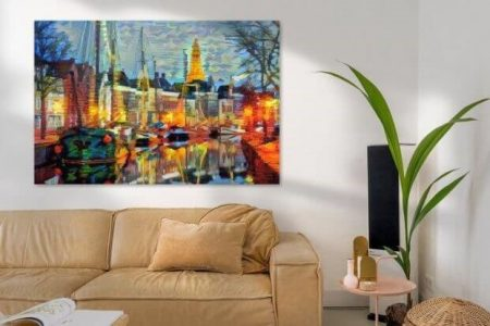 Sfeerimpressie Abstract schilderij Hoge der A Groningen