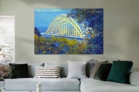 Sfeerimpressie Kunstwerk Waalbrug van Nijmegen geschilderd met ons algoritme in de stijl van Van Gogh