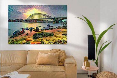 Sfeerimpressie Panorama schilderij van de Waalbrug bij Nijmegen