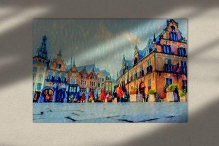 Sfeerimpressie Schilderij Nijmegen Waag gebouw en Grote Markt