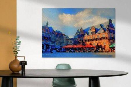 Sfeerimpressie Sfeervol Schilderij Nijmegen op de Grote Markt