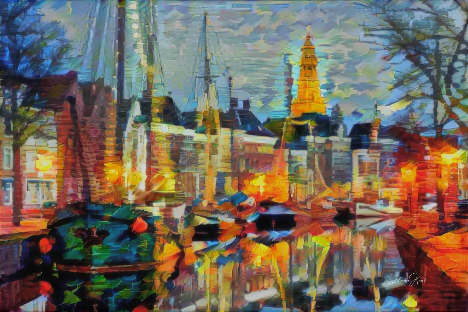 Abstract Schilderij Hoge der A Groningen