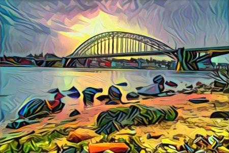 Abstracte skyline van Nijmegen - Kunstwerk van de waalbrug