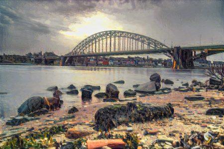 Impressionistisch kunstwerk van Nijmegen - strandje aan Waal met zicht op Waalbrug en Nijmegen