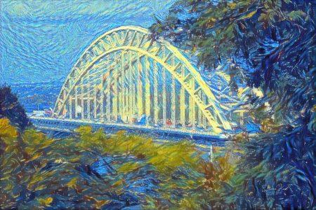 Kunstwerk Nijmegen - Waalbrug in de stjijl van Van Gogh