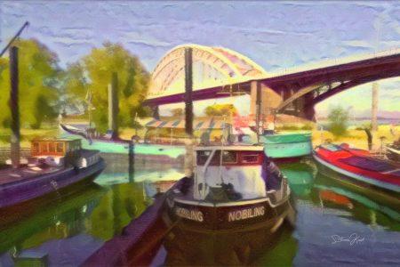 Schilderij Nijmegen - schepen onder waalbrug