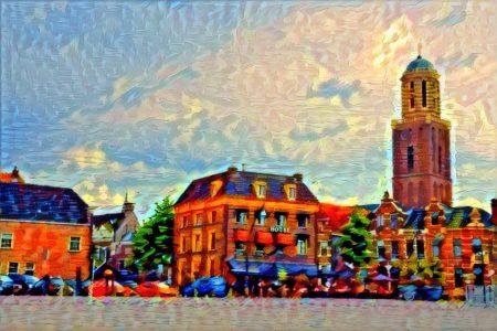 Kleurrijk Schilderij Zwolle Rodetorenplein met Peperbus