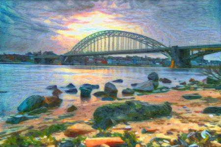 Schilderachtig kunstwerk van Nijmegen - Strand & Skyline