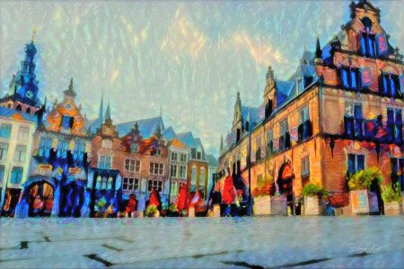 Schilderij Nijmegen Waaggebouw en Grote Markt