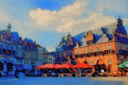 Sfeervol Schilderij Nijmegen op de Grote Markt