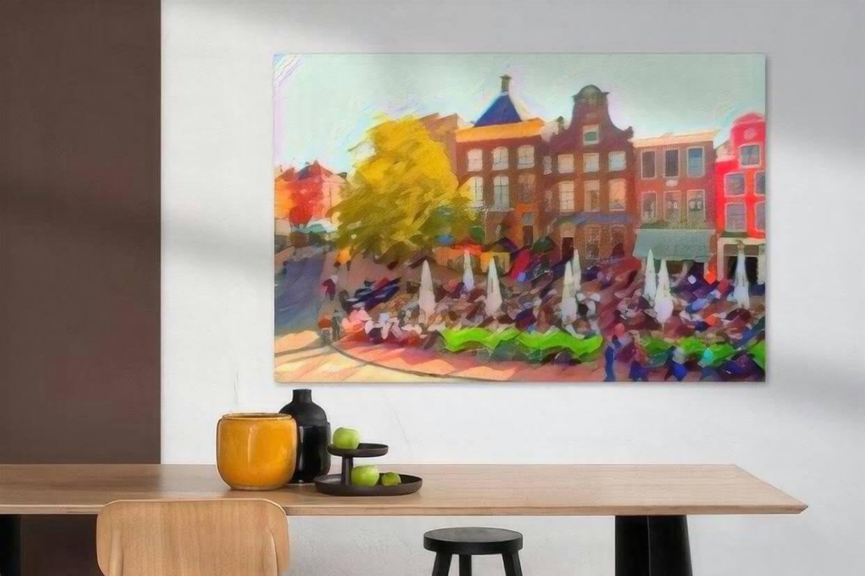 Kunst Groningen Drie Gezusters op de Grote Markt in de stijl van Kandinsky sfeerimpressie