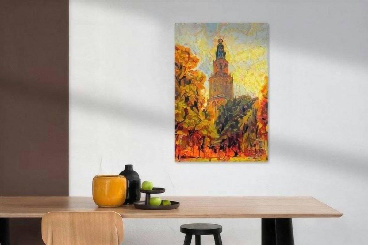 Herfst kunst Groningen schilderij Martinitoren sfeerimpressie