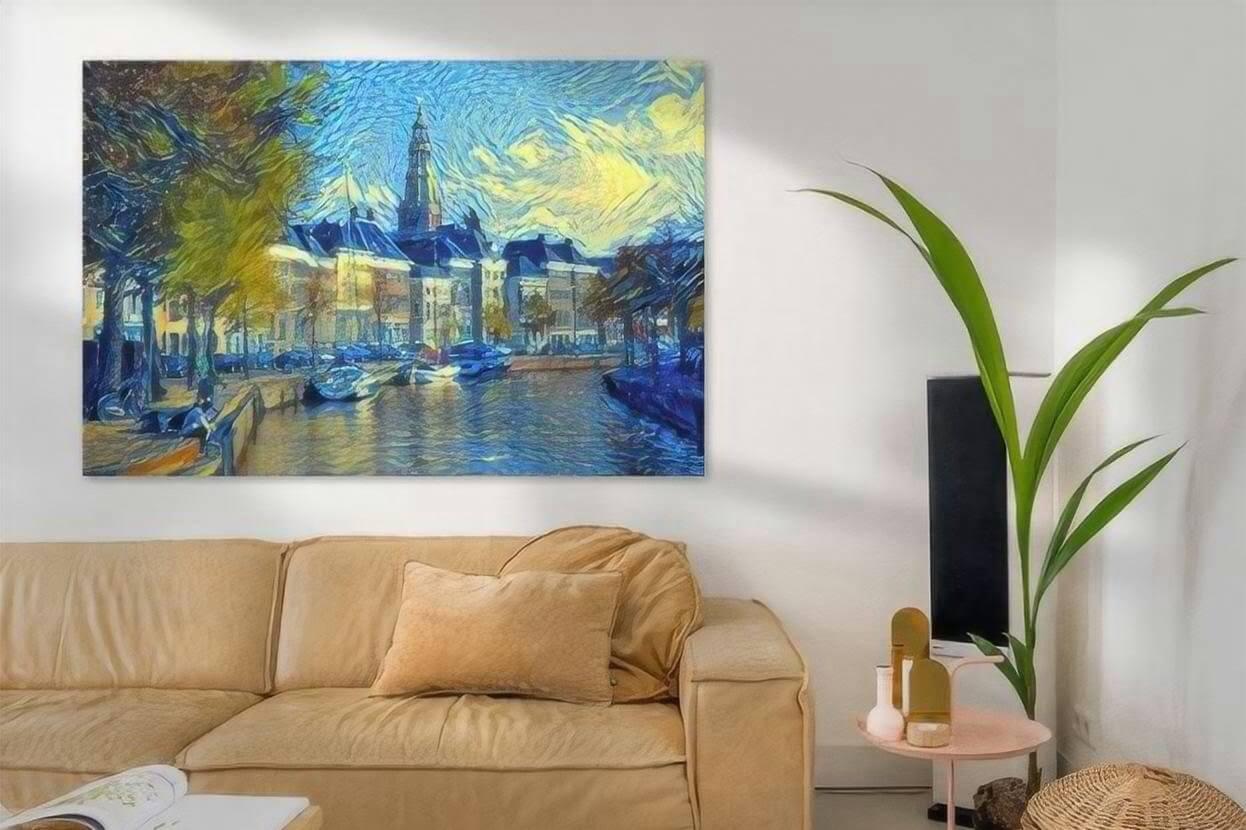 Kunst Groningen schilderij Hoge Der Aa in de stijl van Van Gogh sfeerimpressie