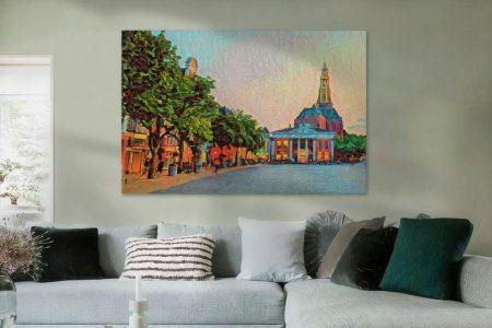 Kleurrijke kunst schilderij Groningen Korenbeurs en Grote markt sfeerimpressie