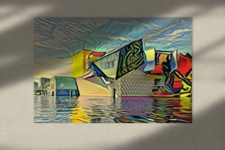 Moderne kunst Groningen schilderij van Groninger Museum in de stijl van Picasso