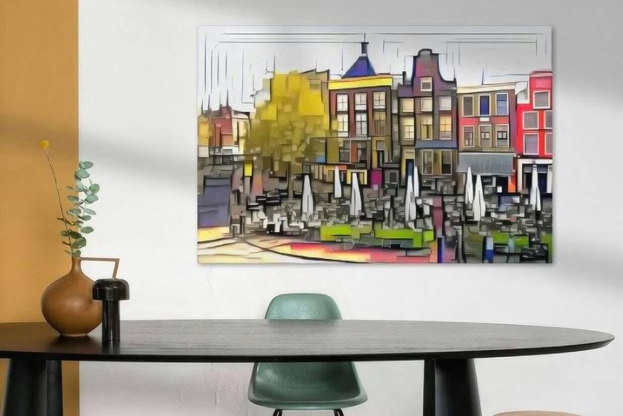 Schilderij Groningen kunst Drie Gezusters op de Grote Markt in de stijl van Mondriaan sfeerimpressie
